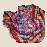"Huge 40"" Square Silk Chiffon Paisley Scarf, Vibrant Colors!"