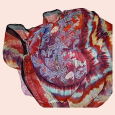"Huge 40"" Square Silk Chiffon Paisley Scarf, Vibrant Colors!"