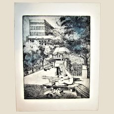 "Circa 1970's ""Woman and Guitar"" Etching, 10 of 15, Signed Artist Unknown"
