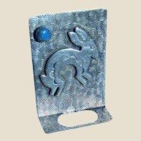 Navajo Sterling & Turquoise Rabbit Eyeglass Holder Pin
