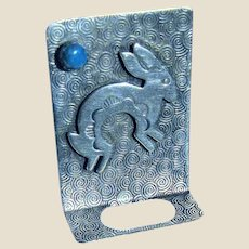 Navajo Sterling & Turquoise Rabbit Eyeglass Holder Pin