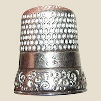 Antique Sterling Thimble, Engraved Ornate Floral Design, Sz 8