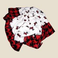 """74"""" Scottie Dog Cream Red & Black Plaid Scarf or Shawl"""