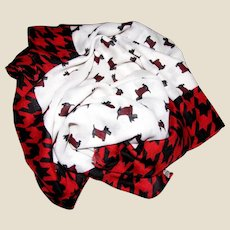 "74"" Scottie Dog Cream Red & Black Plaid Scarf or Shawl"