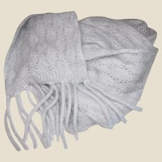 "70"" Light Gray Angora Lace Scarf"