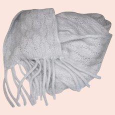 "70"" Light Gray Angora Lace Scarf"