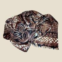 "82"" Tribal Design Black, Brown & White Silk Scarf"