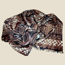 "82"" Tribal Design Black, Brown & White Silk Scarf"
