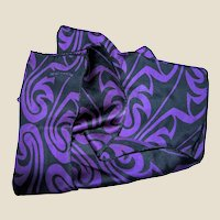 "Dramatic 56"" Silk Swirl Scarf in Ink & Purple"
