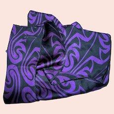 "Dramatic 56"" Silk Swirl Scarf in Ink & Purple"