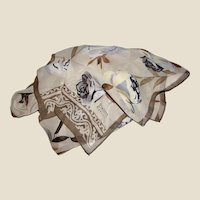 "60"" Taupe Floral Sprig Silk Crepe Scarf by Diahann Carroll"