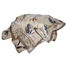 "60"" Taupe Floral Sprig Silk Crepe Scarf by Diahann Carroll"