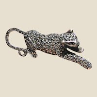 Stylish Sterling & Marcasite Cheetah Pin
