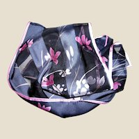"""52"""" Navy & Pink Floral Silk Scarf by Elaine Gold for Collection XIIX"""