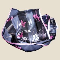 "52"" Navy & Pink Floral Silk Scarf by Elaine Gold for Collection XIIX"