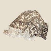 """Elegant 74"""" Beige Floral Scarf with 3"""" Long Silk Fringes"""