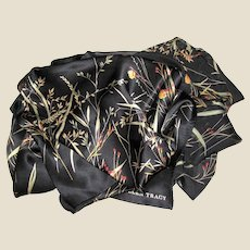 "Sophisticated Ellen Tracy Black Floral 34"" Square Satin & Chiffon Scarf"