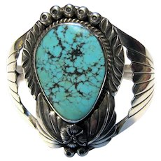 Native American Sterling Lone Mountain Turquoise Cuff Bracelet