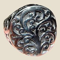 Tree of Life Sterling Statement Ring Sz 9, 8.2 grams