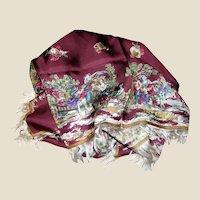 "1950's ""Princess Shirazi"" 30"" Sq Italian Fringed Silk Scarf"