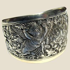 Vintage Asian 900 Silver Ornate Cuff Bracelet w/ Mythical Beasts!