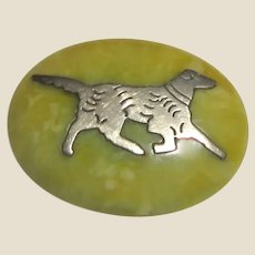 Art Deco Bakelite Pin with Sterling Dog Motif