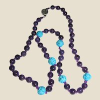 "24"" Chinese Amethyst w/ Turquoise Shou Bead Necklace"