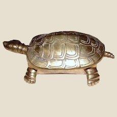 Large Solid Brass Turtle Trinket Box