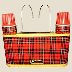 "Vintage 1950's Classic Car Accessory Red Tin Plaid Car-Snac ""Thermos & Snack "" Unit"
