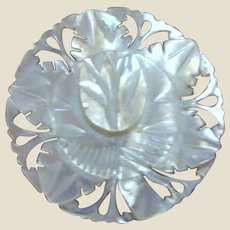 Hand Carved Rose Mother of Pearl Filigree PIn