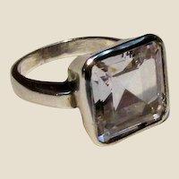 Stunning Modernist Asscher Cut CZ Sterling Ring Sz 7.5