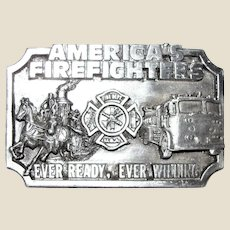 Belt Buckle 1983 America's Firefighters Ever Ready Ever Willing, Siskiyou Pewter, Like New