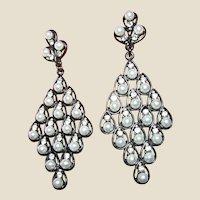 """Glamorous 3"""" Rhinestone & Faux Pearl Chandelier Earrings"""