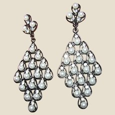 "Glamorous 3"" Rhinestone & Faux Pearl Chandelier Earrings"