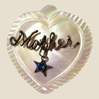 "Carved Mother of Pearl & Rhinestone ""Mother"" Pin"
