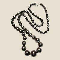 "Stunning 30"" Graduated Silvertone Bead Necklace"