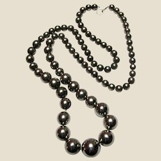 "Stunning 30"" Graduated Silvertone Bead Necklace"