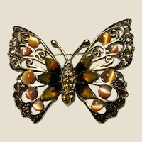 Goldtone Amber Cats Eye & Rhinestone Butterfly Pin by the Designer LE