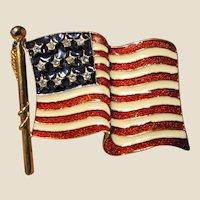 """2 1/4"""" American Flag Brooch w/ Enamel Stripes & Rhinestone Stars, Stunning!"""