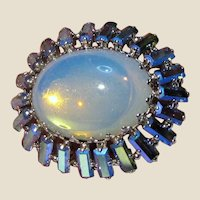 West German Silvertone Rhinestone & Opal Glass Pin