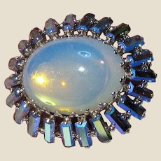 West German Silvertone Rhinestone & Opal Glass Pin
