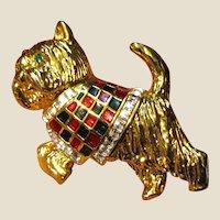Goldtone Scottie Dog Pin w/ Enamel & Rhinestones