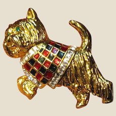 Goldtone Scottie Dog Pin w/ Enamel & Rhinestones