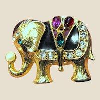 "2"" Goldtone, Enamel, Faux Pearl & Rhinestone Elephant Pin"
