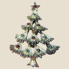 GERRY'S Silvertone Christmas Tree Pin w/ Rhinestone & Enamel