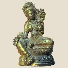 Highly Detailed Small Cast Brass Statue of a Hindu Deity