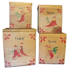 Set of 4 Hand Made Hand Painted Rooster Primitive Canisters