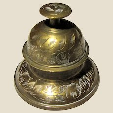 Vintage Indian Brass Elephant Claw Etched Bell with Stand Holder