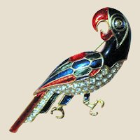 Gold Tone Parrot Pin w/ Enamels and Rhinestones
