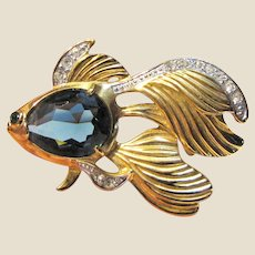 Goldtone Rhinestone & Blue Crystal Jelly Belly Fish Pin